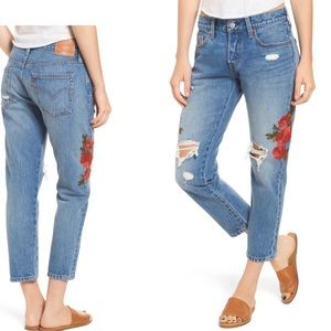 501 Floral Embroidered Crop Taper Jeans 27x25